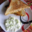 Two-Cheese Pav Bhaji Sandwich with Chilled Cucumber Yogurt Recipe