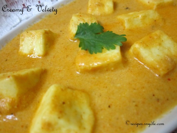 recipe of shahi paneer