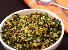 greengram fenugreek leaves thoran