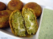 Cheese-Filled Veggie Cutlets with Spring Onion Dip Recipe