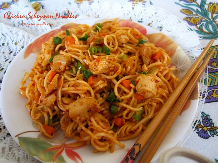 Chicken Schezwan Noodles Recipe