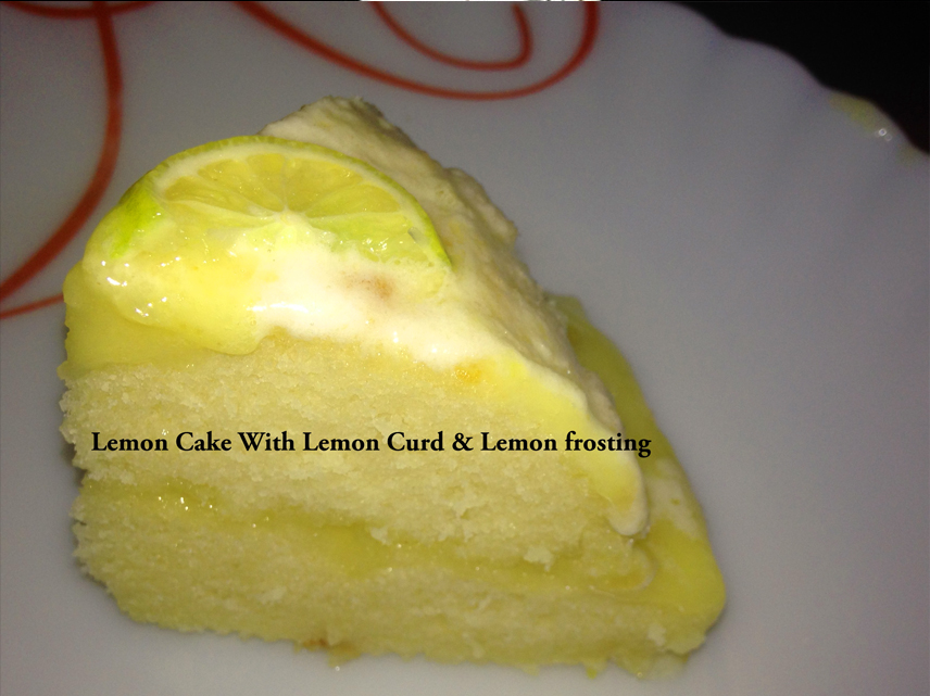 Lemon cake with lemon curd and lemon frosting without oven