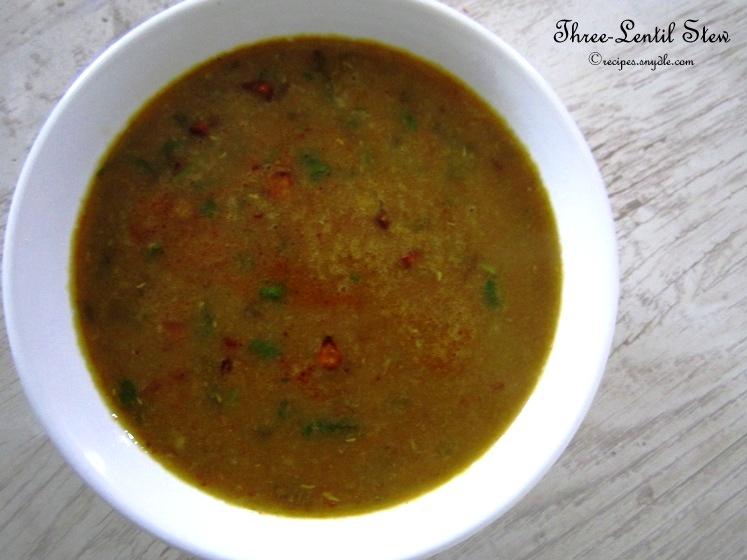 Three-Lentil Stew Recipe / Tridali Dal Recipe