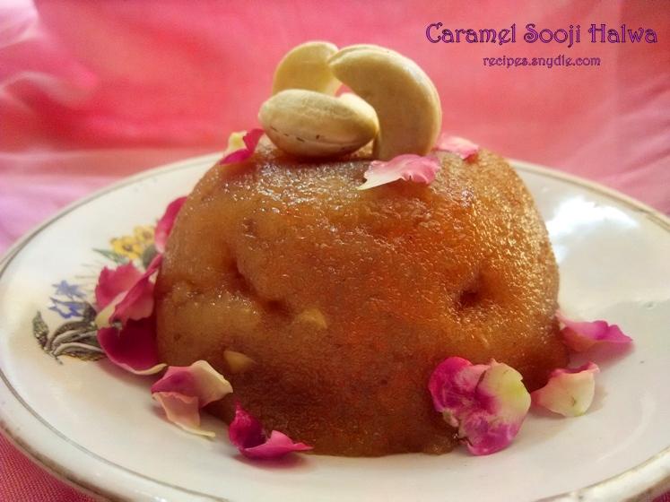Caramel Sooji Halwa Recipe/Caramel Suji Halwa Recipe