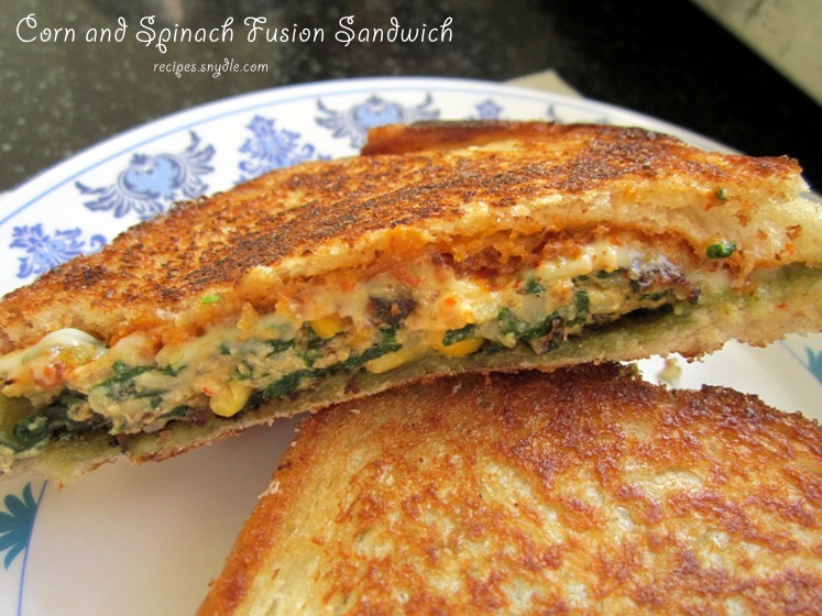 Corn and Spinach Fusion Sandwich Recipe