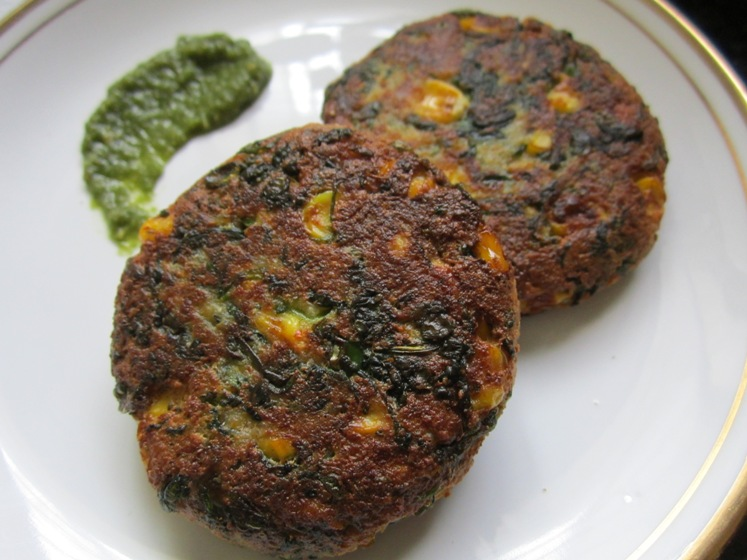 how to make corn-palak tikki