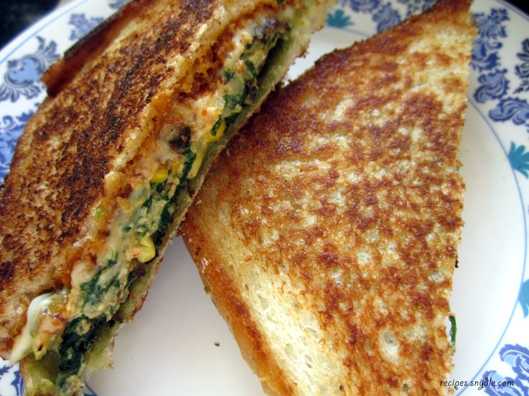 recipe for corn and spinach sandwich