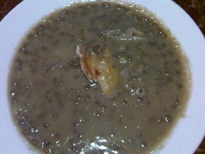 ginataang monggo with dried fish