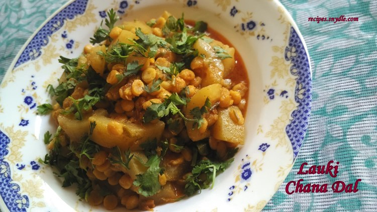 how to make lauki chana dal