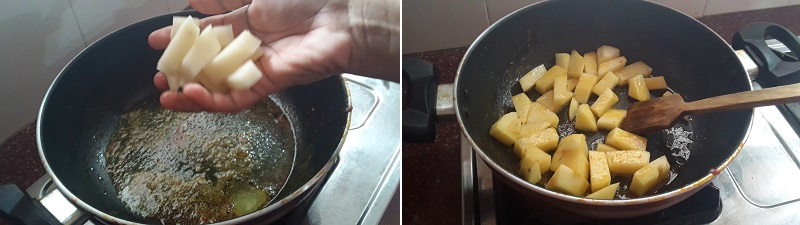 easy Aloo Palak Gravy preparation steps