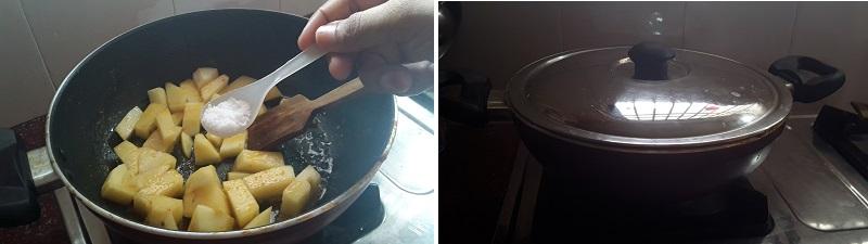 simple steps for Aloo Palak Gravy preparation