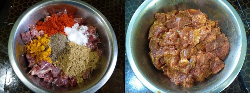 Naadan Beef Roast With Coconut : steps