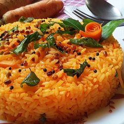Carrot Rice /  rice cooked in carrot juice / Lunch Box Recipe