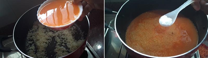 Carrot Rice Recipe preparation steps