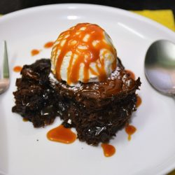 Baked Brownie Pudding with Vanilla Ice Cream