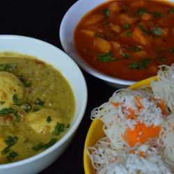 Idiyappam, Noolappam with potato and egg Curry