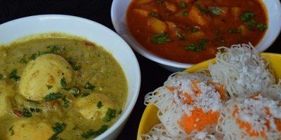 Idiyappam Curry, Noolappam with potato and egg Curry