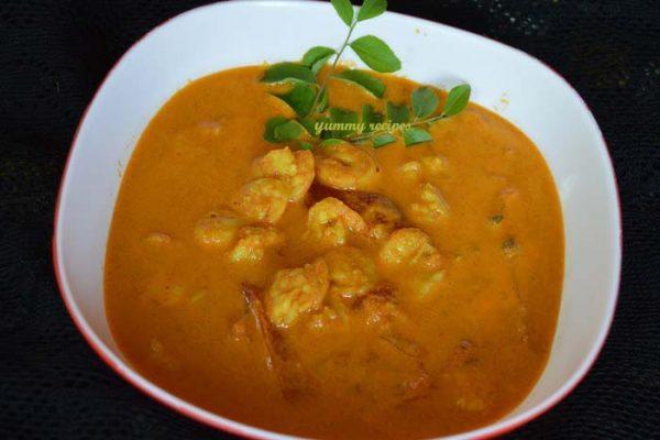 Prawns in Coconut Gravy /Chemmeen Curry