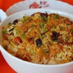 Malabar Prawns Biryani with Carrot Onion Raita