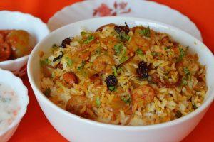 Malabar Style Prawns Biryani with Carrot Onion Raita