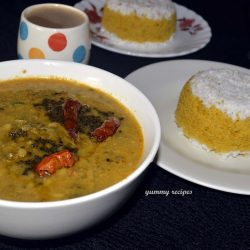 Cornflour Puttu And Cherupayar / Moong Bean Curry