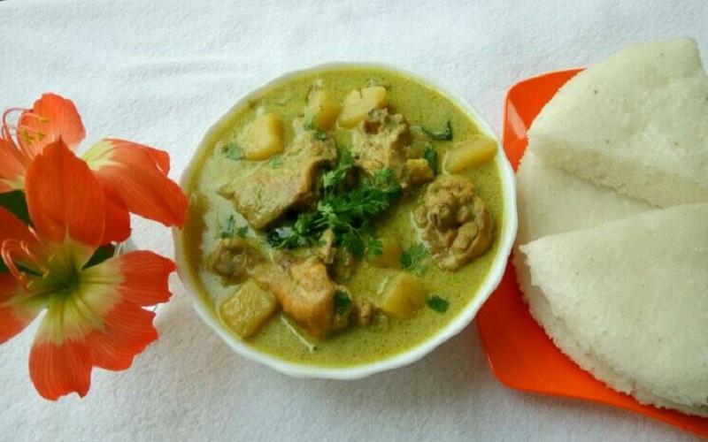 Vattayappam and Chicken Stew - Kerala Style