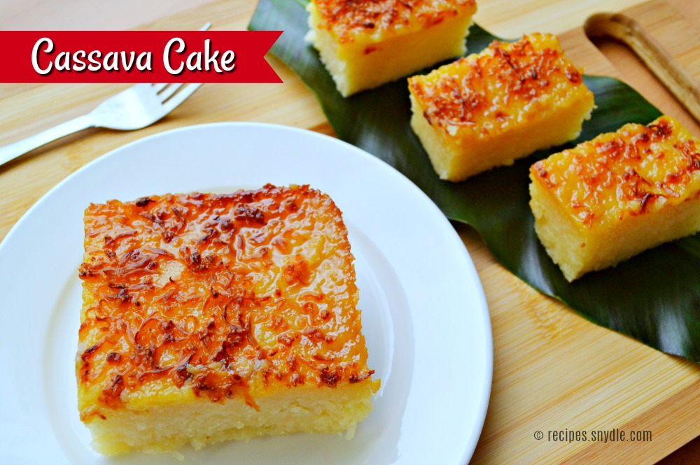 milk and cassava cake Cake 2 lbs grated cassava 1 (14 ounce) can sweetened condensed milk ( reserve 1/3 cup  mix topping ingredients well and spread evenly on the two  cakes.